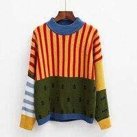 Harajuku 2015 Korean New Winter Sweaters Stripes Hit Color Loose Bat Head Women Sweater Cuff