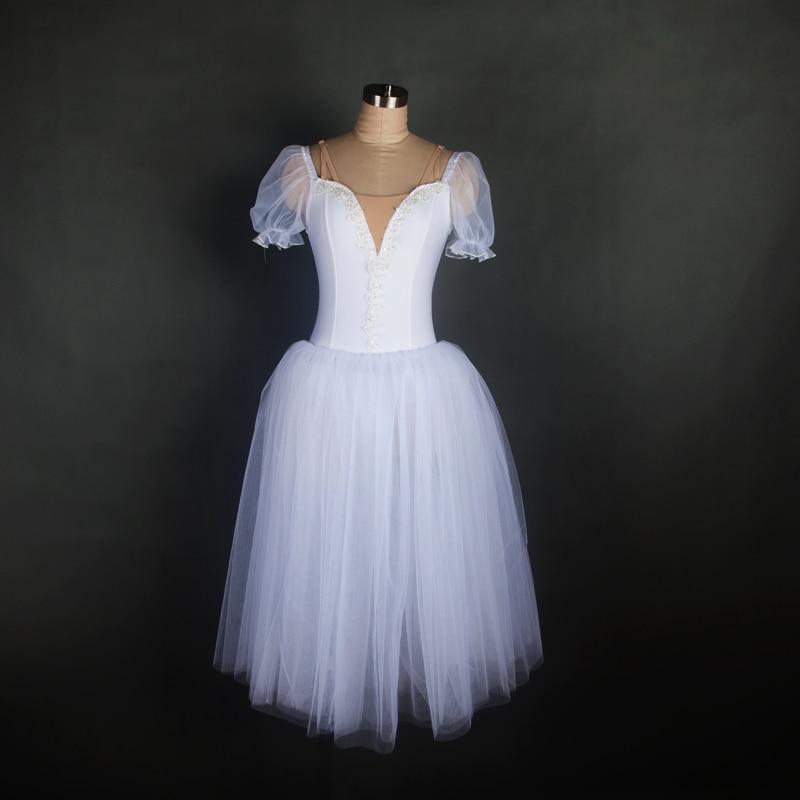 New Design Puff Sleeve Long Ballet Tutu Performance Stage Ballet Costume Long Ballet Tutu White Ballet Wear