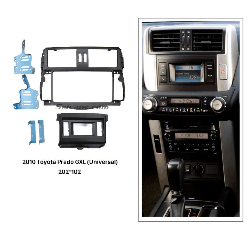 Seicane Universal Double 2 Din Car Radio Fascia for 2010 Toyota Prado GXL Dash Mount Kit Frame Panel CD Trim