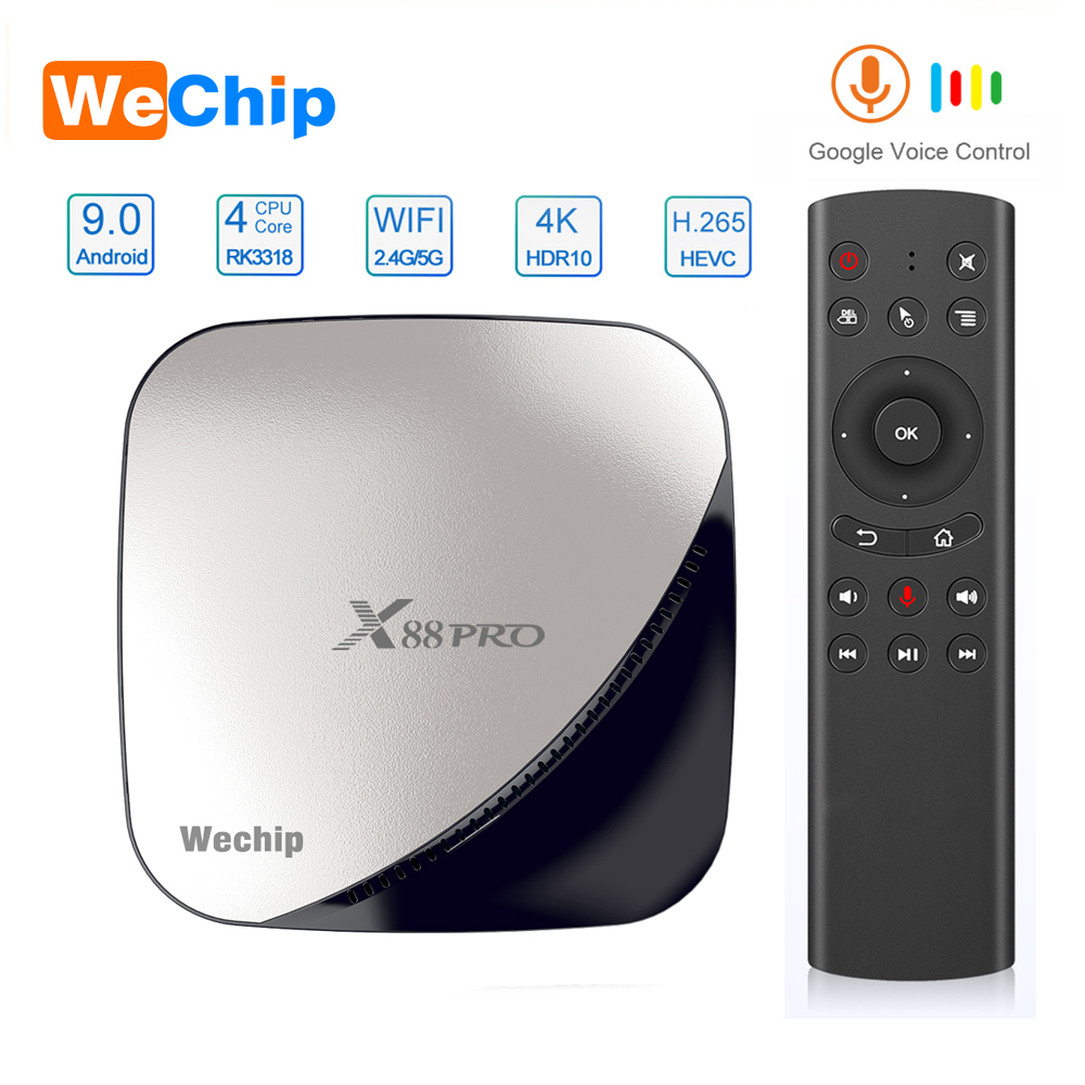 Wechip X88 Pro Android 9.0 TV Box 4G 64G Rockchip RK3318 4 Core 2.4G&5G Wifi 4K HDR Set Top Box USB 3.0 Support 3D Movie Ott Box