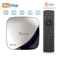 Wechip x88 pro android 9.0 caixa de tv 4g 64g rockchip rk3318 4 núcleo 2.4g & 5g wifi 4 k hdr conjunto caixa superior usb 3.0 suporte 3d caixa de filme ott