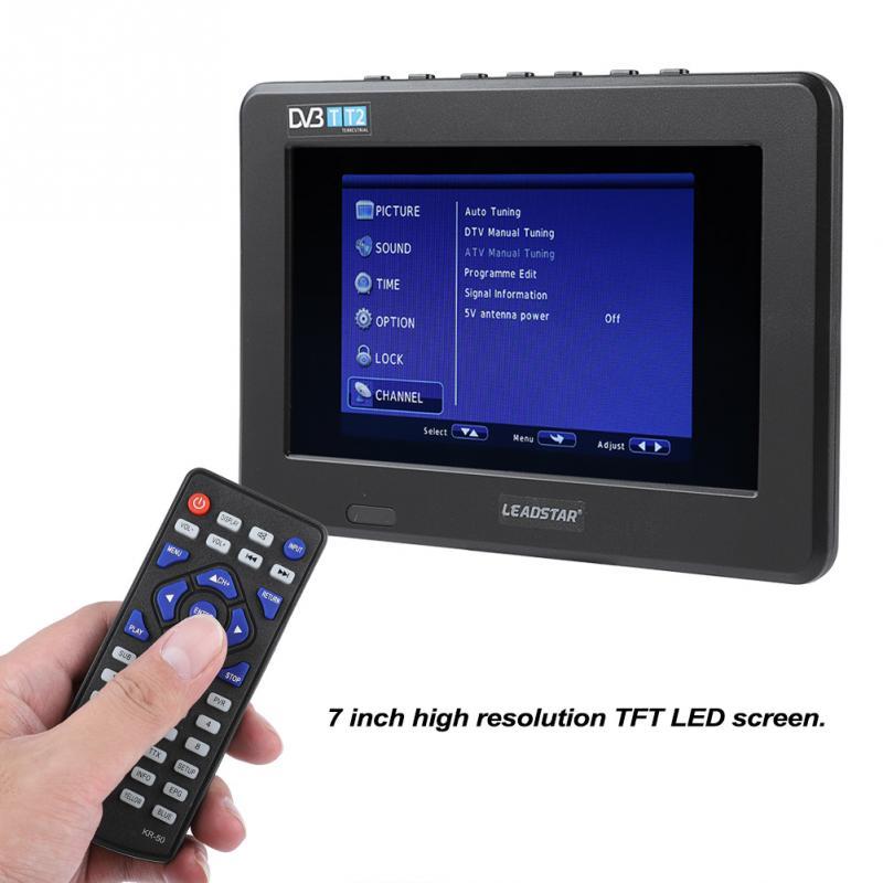 LEADSTAR portable 7 pouces HD 1080 P TFT TV écran LED Mini TV numérique voiture TV DVB-T DVB-T2 ATSC ISDB Support de télévision USB analogique