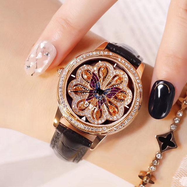 2018 Leer Mode Draaien Dames Horloge Vrouwen Top Brand Luxe Vrouwen Horloges Quartz Waterdicht Diamond Horloges Voor Vrouwen