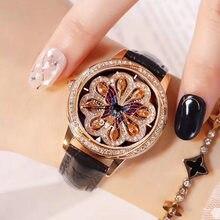 Reloj giratorio de cuero para mujer, de cuarzo, resistente al agua, con diamantes, 2018