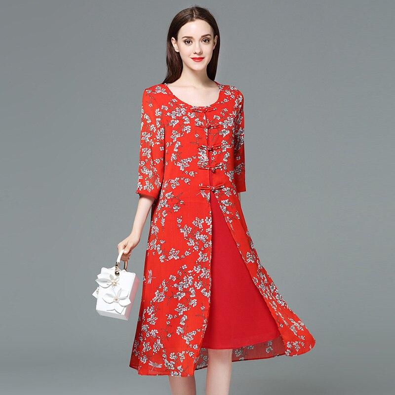 Dámské letní nové šifónové potisk červené velkoformátové šaty Vestidos 5xl Plus Velikost Čínský styl Šaty tlustý mm večerní párty dámské Šaty