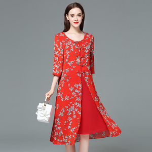 Women summer new Chiffon print red large size dress Vestidos 5xl Plus Size Chinese Style Dress fat mm evening party lady Dresses