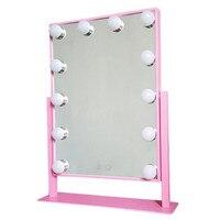 Голливуд освещенное зеркало с подсветкой с 12 светодиодные лампы 360 градусов вращения make up led зеркало
