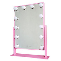 Hollywood lighted mirror with led light with 12 led bulbs 360 degree rotation make up led mirror