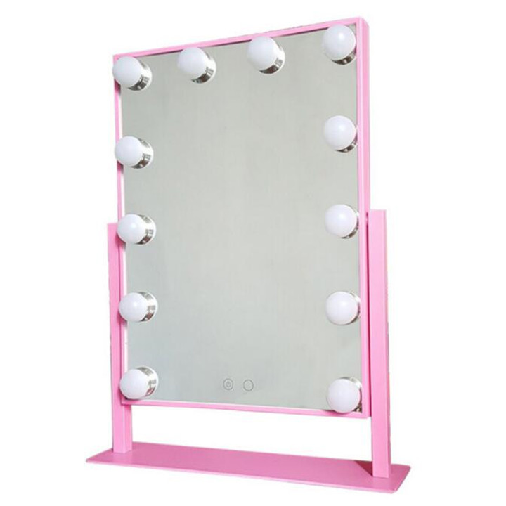 <font><b>Hollywood</b></font> lighted mirror with led light with 12 led bulbs 360 degree rotation make up led mirror image