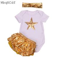 Fashion Newborn Girl Romper Clothing Sets Short Sleeve Star Romper Golden PP Pants Headbaband 3pcs Fashion