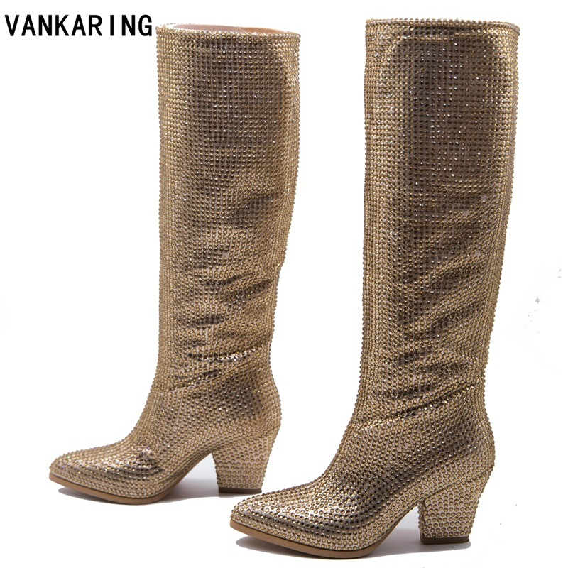 VANKARING brand shoes woman knee high boots sexy pointed toe wedges rhinestones high heels all matched riding winter boots womenVANKARING brand shoes woman knee high boots sexy pointed toe wedges rhinestones high heels all matched riding winter boots women
