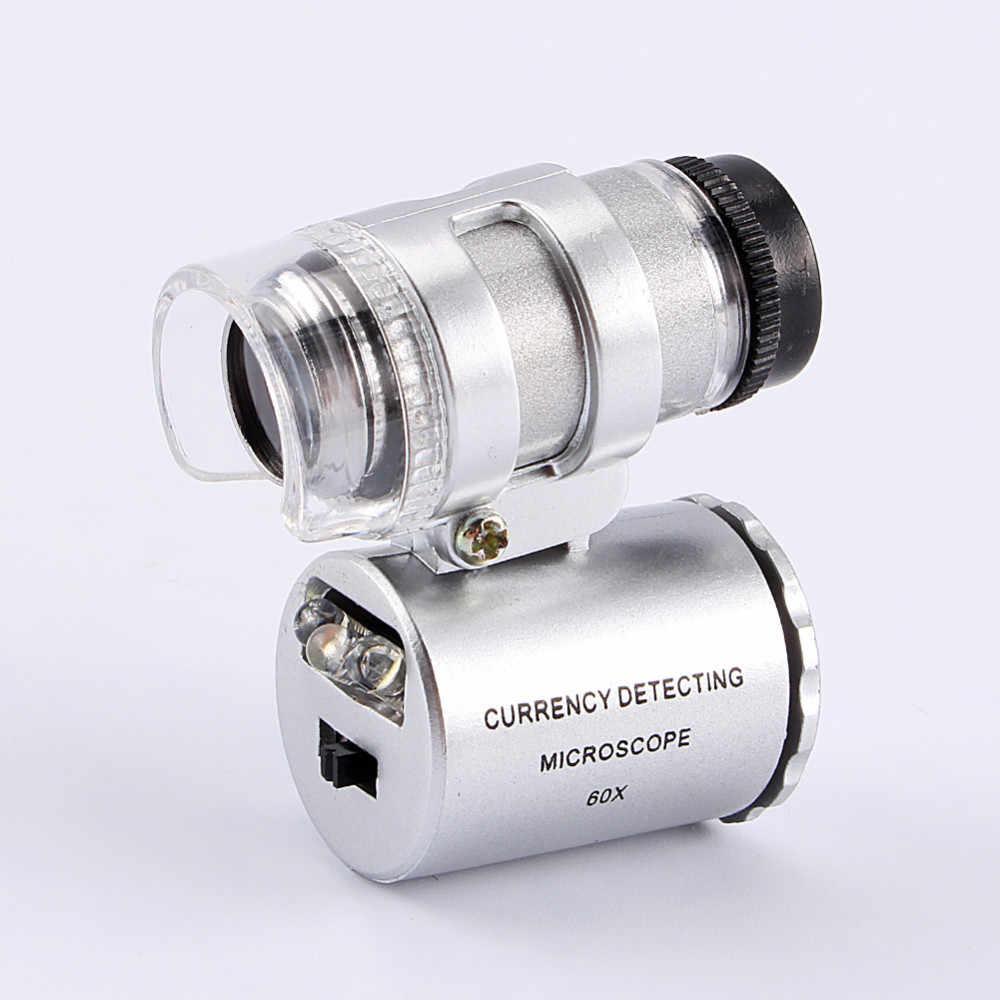 Mini obiektyw 60X kieszonkowy lupa mikroskop z LED Light jubiler lupa detektor walut lupa tanie ceny