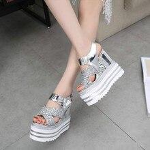2016 new Korean high-heeled shoes muffin Rome Fashion wild sequins 13cm wedge sandals women