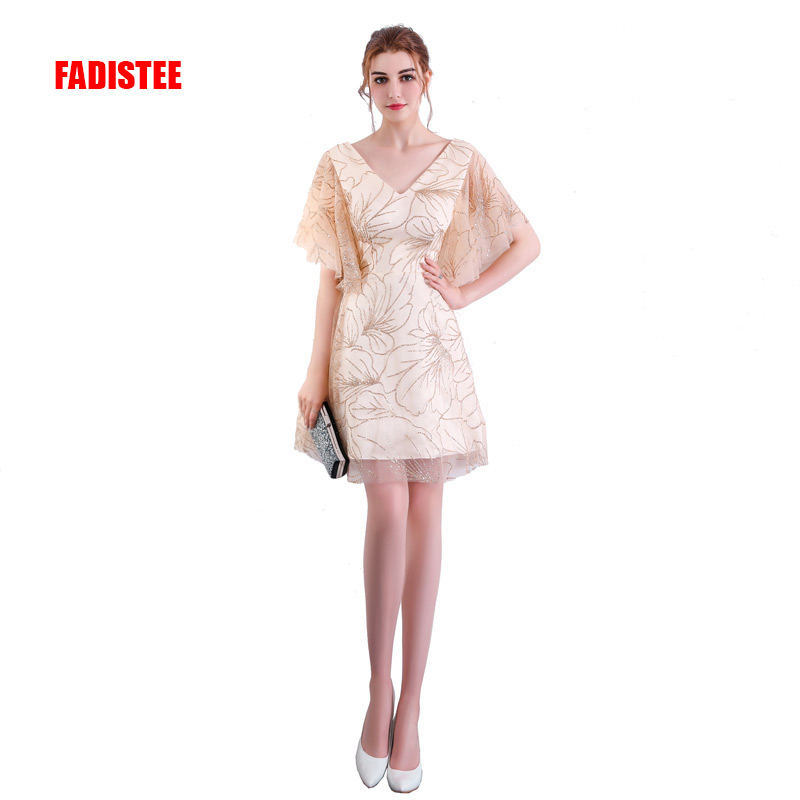 FADISTEE New Arrival Cocktail Party Dresses Half Sleeves Vestido De Festa V-neck Sexy Bling Sequin Dress Short Style