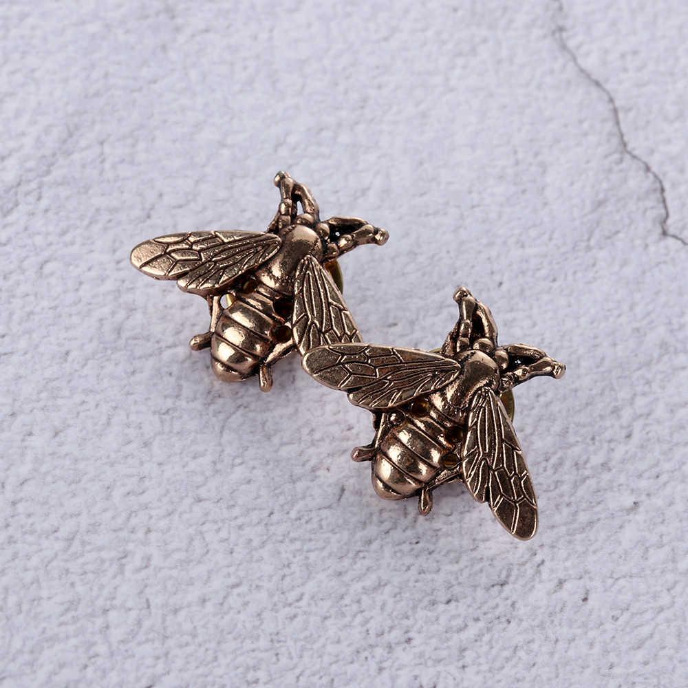 1/2Pcs Vintage Bees เข็มกลัด Pins Gold & Silver แมลงเข็มกลัดสำหรับผู้ชายผู้หญิงกวางกวางหัว pin แฟชั่นเครื่องประดับ