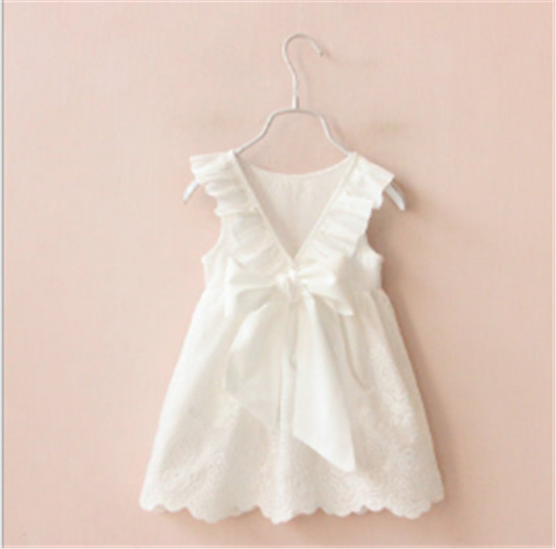 Fashion White Kids Girls Dress Big Bow Children Clothes Girls Princess Dress