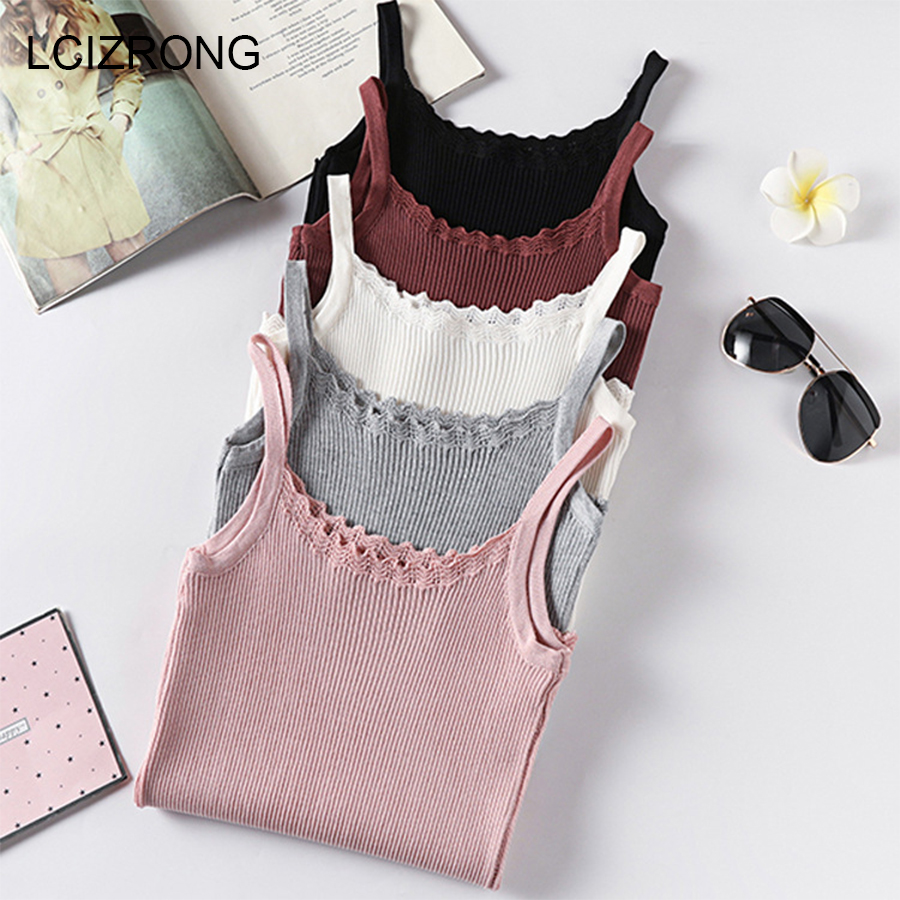 New Summer Women Knitted Vest Korean Cool Slim Ladies Party   Tops   Sleeveless   Tank     Top   Casual Stretchable Camis