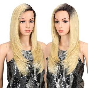 Image 2 - Magic Hair Synthetisch Haar Lace Front Pruik 24 Inch Lange Rechte Pruik Ombre Zwart Roze Cosplay Pruik Hittebestendige Synthetische haar