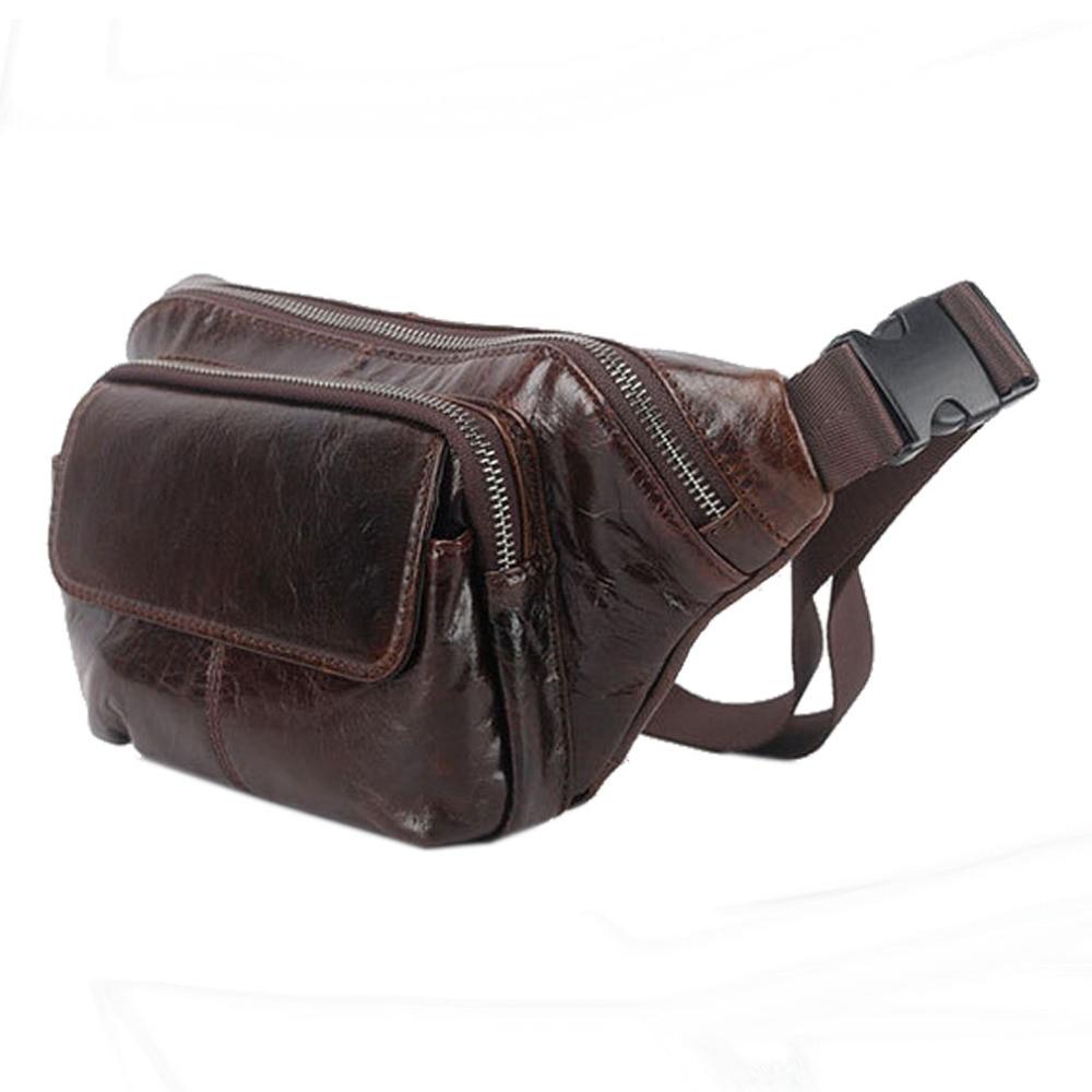 Men  Fanny Pack Waist Wallet Bag Oil Wax Genuine Leather Cowhide Vintage Messenger Shoulder Sling Chest Bag Hip Bum Belt Pouch