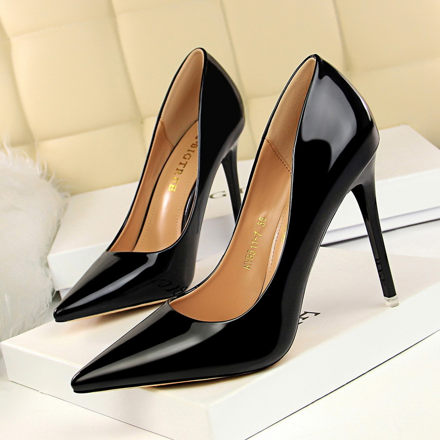 Plus SZ Womens Pointed Toe Patent Leather Pumps High Heels OL Wedding Work Shoes