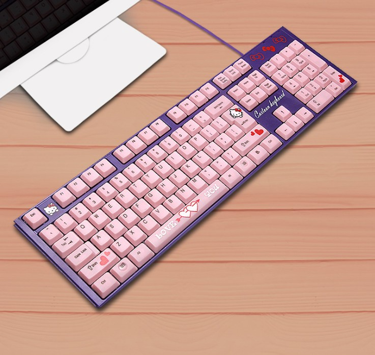 Waterproof Silent Pink Hello Kitty Laptop Computer Keyboard Cartoon Cute Pink USB Wired KT Cat Keyboard Gaming For Girls