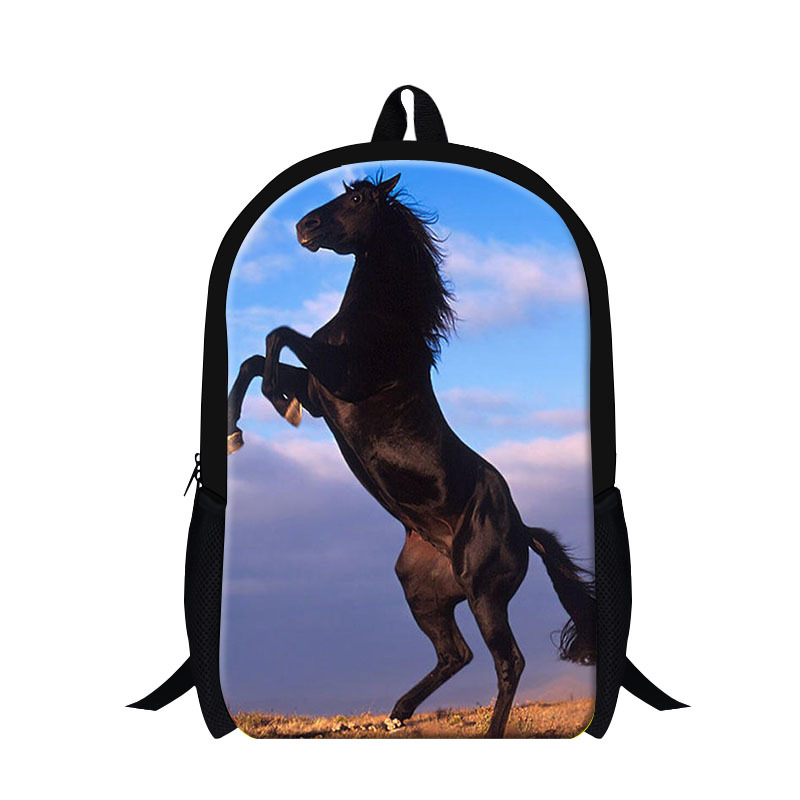 Fashion mens horse back pack,plush horse 3D print backpack for children boys,cool school bags for kids school,stylish travel bag