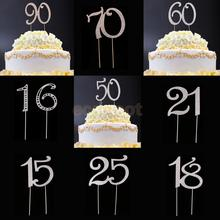 Glitter Rhinestone 15th 16th 18th 21th 25th 50th 60th 70th 90th Anniversary Birthday Cake Toppers