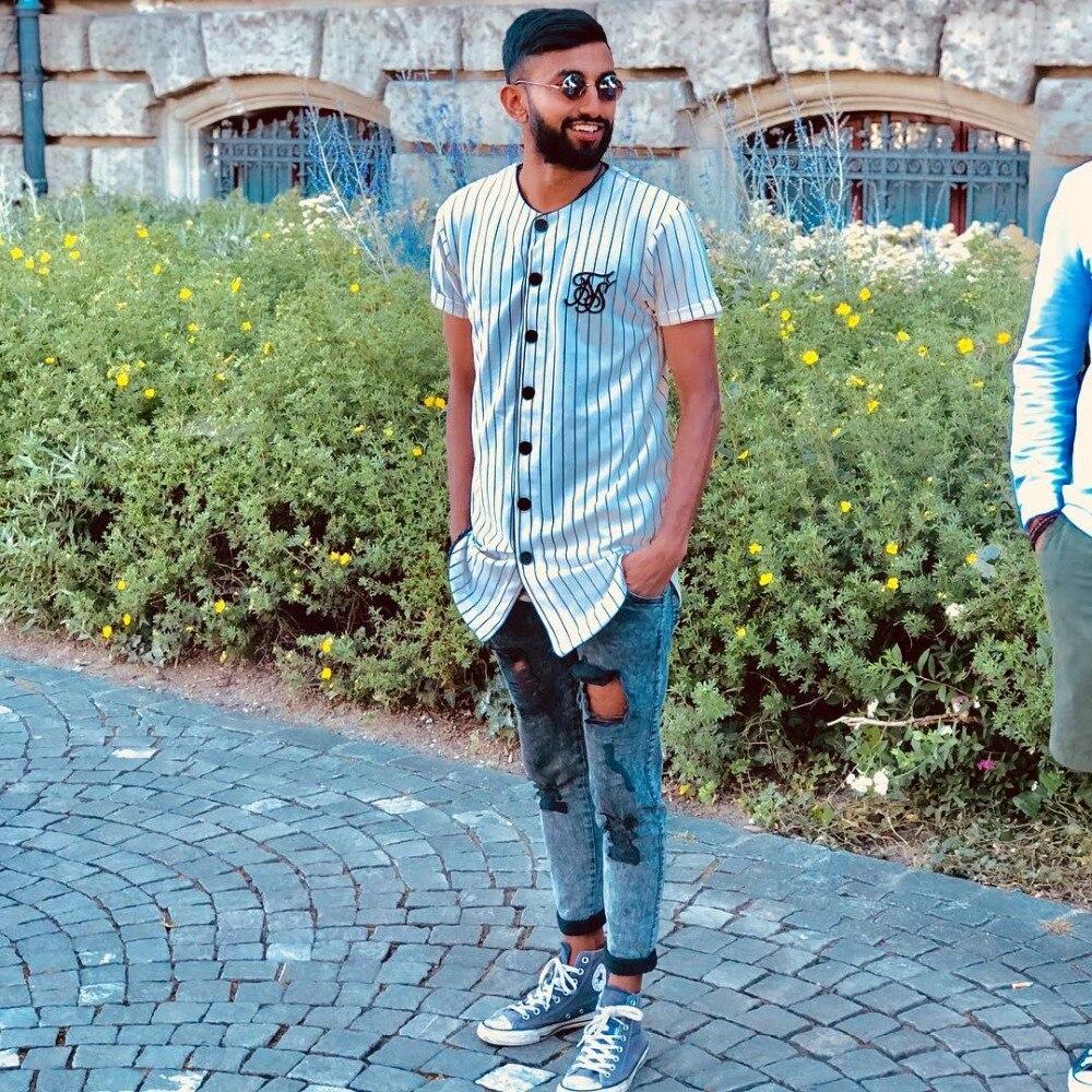 New Summer Style Mens   T     shirts   Fashion 2018 Streetwear Hip Hop Sik Silk baseball jersey striped   shirt   Men Clothes tyga M-XXL