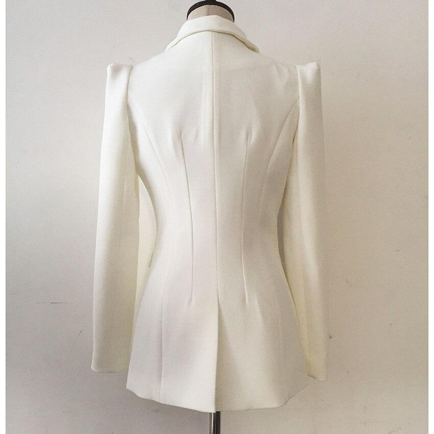 European American Blockbuster Women Clothing 2019 Slim Medium Long Shrugging Shoulder A Button White Suit Outerwear OL Jackets