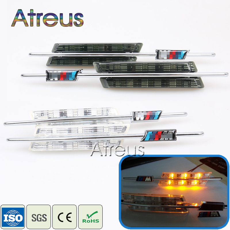Atreus 2X LED Fender Side blinklys For BMW E60 E61 E81 E82 E87 E88 E90 E91 E92 E92 E93 Bil LED Markeringslys 12V M Logo styling