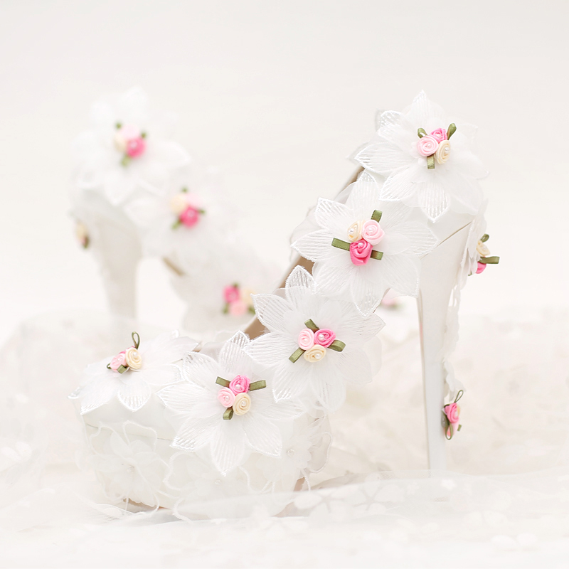 ФОТО 2016 New 14cm White Chiffon Flower Bride Shoes High with Fine with Photography Single Shoes for Women's Shoes New Wedding Shoes