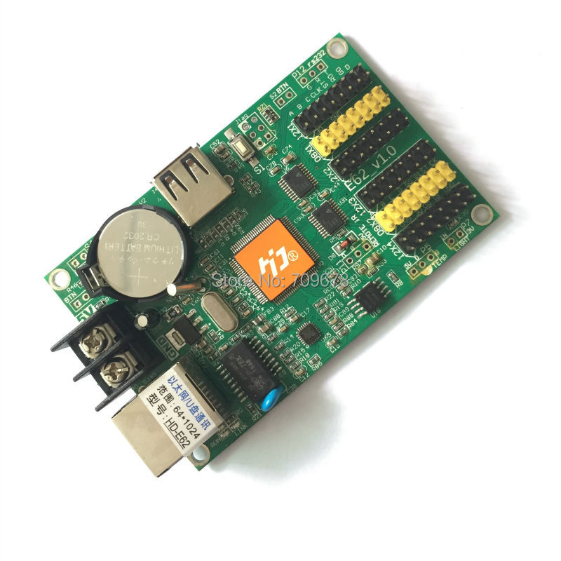 HD-E62 USB-Disk & Ethernet Communication Ports Huidu P10 Monochrome LED Display Card