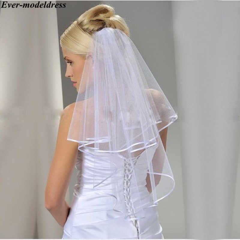 Kurze Braut Schleier Tüll 2019 Zwei Schichten Weiß/Elfenbein Kurze Hochzeit Schleier mit Kamm Günstige Haar Zubehör Günstige Freies verschiffen