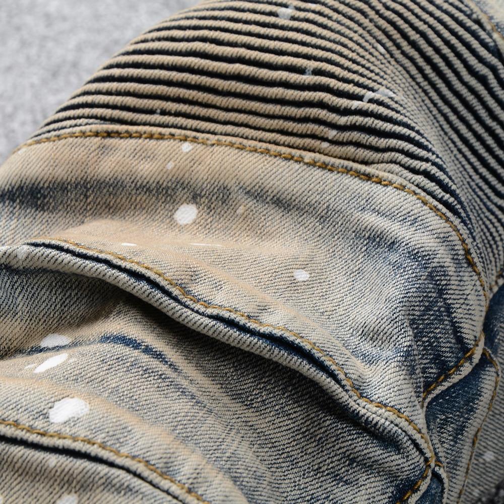 Sokotoo Men's vintage painted stretch cotton denim biker jeans Slim fit pleated pants for motorcycle