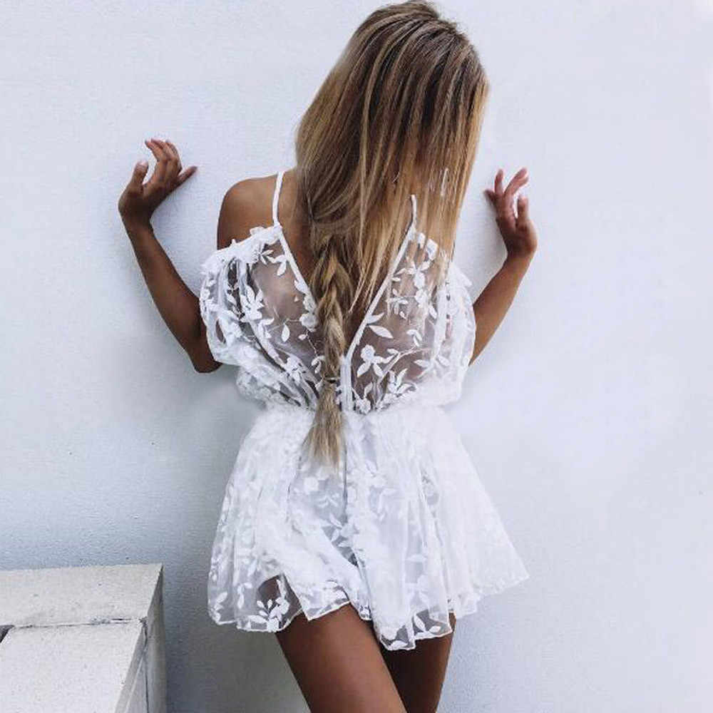 2019 Ladies New  Fashion Womens See Through Lace Playsuit Ladies Plunge Holiday Short Jumpsuit Free express 4.6