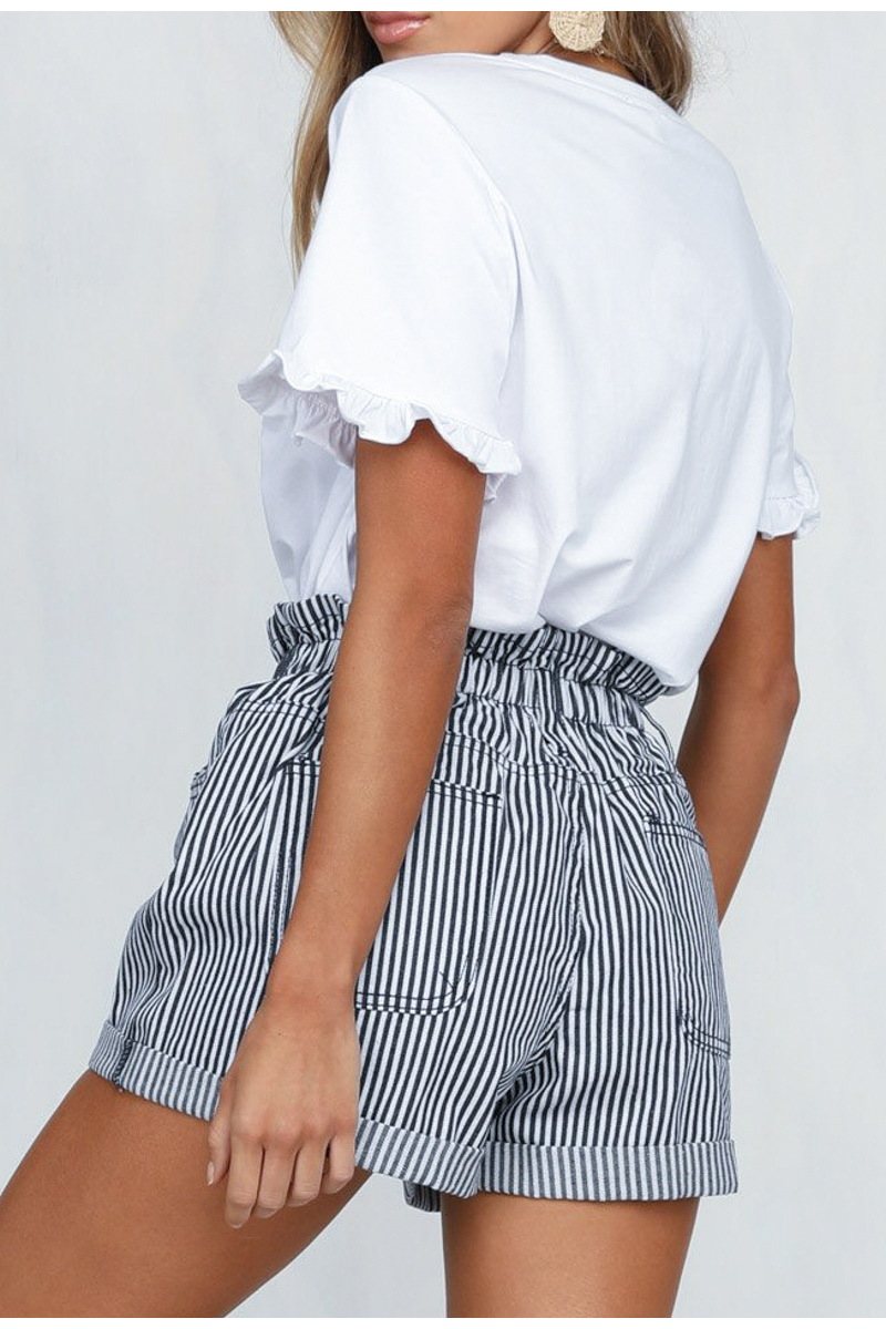 Striped High Waist Buttons Loose Fold Bottom Shorts