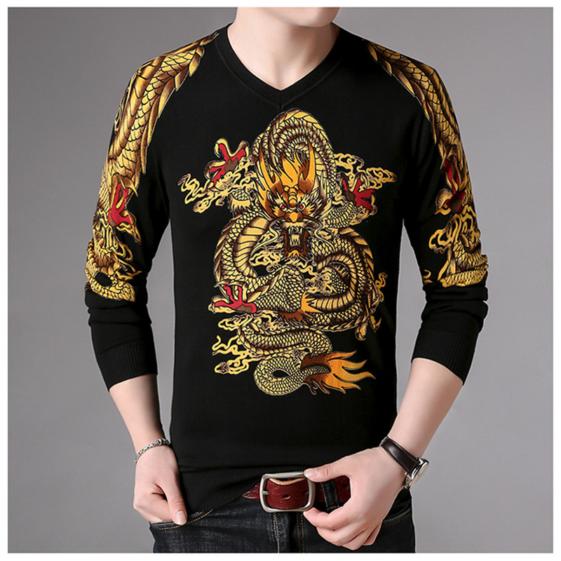 Chinese Style Exquisite Dragon Pattern Print Pullover Knit Sweater Autumn 2018 Quality Soft Comfortable Fancy Sweater Men M-XXXL