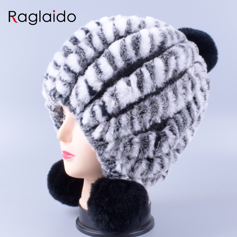 4ef2cf846def8 Ragladio Women Knitted Rabbit hat with natural fur fox ball Pom pom Ear Hat  Winter Genuine Real Fur Lady Girl Beanie Cap LQ11258-in Skullies   Beanies  from ...