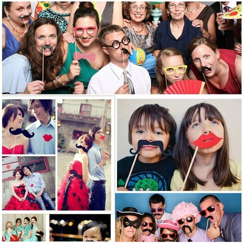 76pcs/Set Photo Booth Props Funny Birthday Party Wedding Props Mask Moustache Photo Booth Stick Photography Party Event Supplies