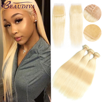Beaudiva Peruvian Hair Straight Hair 3 Bundles With Closure 613 Blonde Color Hair Human Hair With 4x4 Closure Free Shipping
