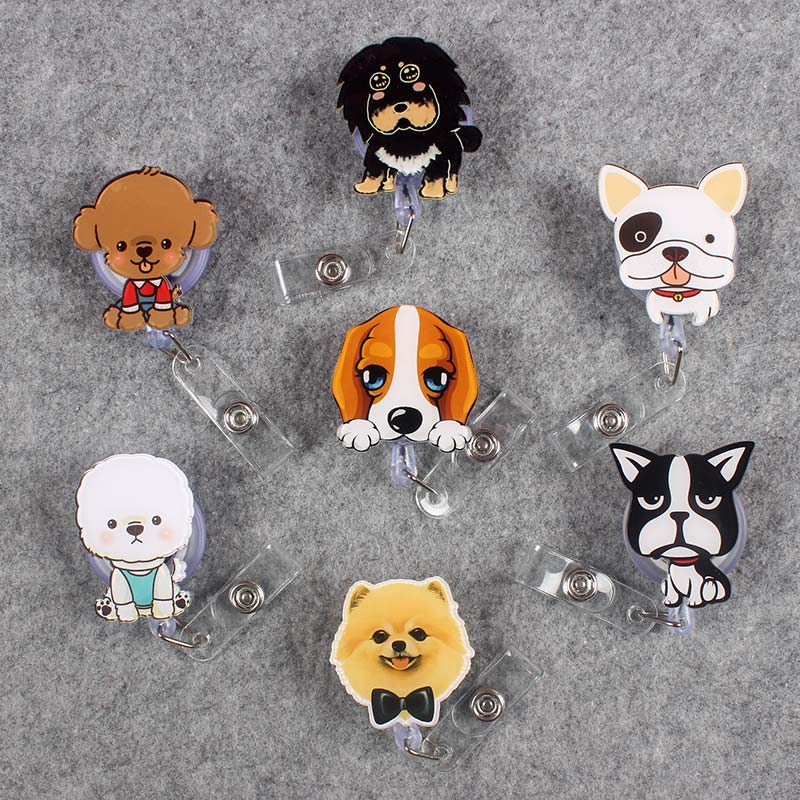 15 Kind Style Cute Funny Dog Retractable Creative Badge Reel Students Nurse Exhibition Enfermera Name Card Chest PVC Card Holder