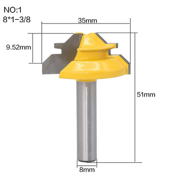 1Pc 45 Degree Lock Miter Router Bit 8Inch Shank Woodworking Tenon Milling Cutter Tool Drilling Milling For Wood Carbide Alloy 3