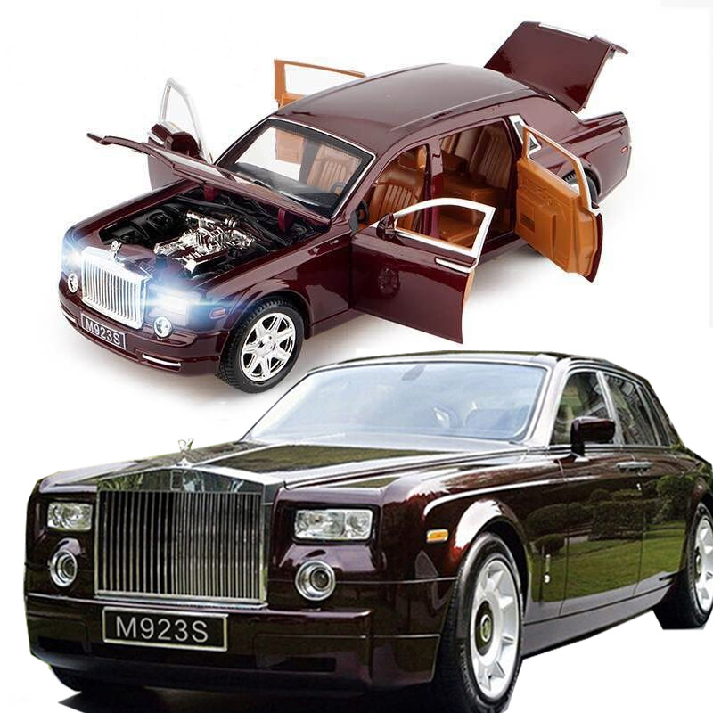 1:24 Diecast Car for Rolls Royce Alloy Model Car Metal Toy with Sound/Light/Pull Back Function for Adult Kid Collection Gift 1 38 alloy car pull back diecast model toy sound light collection brinquedos car vehicle toys for boys children christmas gift