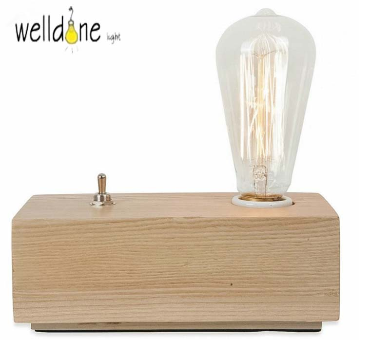 Antique Simple E27 Edison Bulb Wooden Retro Bedroom night light Wood Vintage Desk Lamp for Coffee Shop Bar Study table lamp