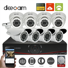 Deecam CCTV 8CH 720P P2P Network HDMI NVR 1.0M Wireless HD IP IR Outdoor Camera Kit Video Surveillance System with 1T HDD