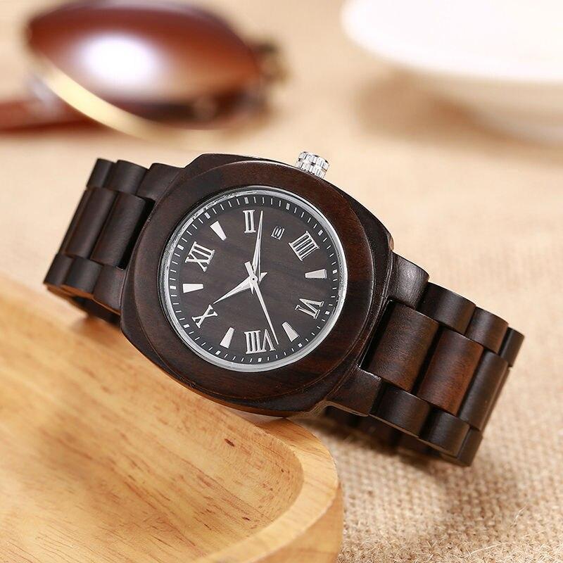 SIHAIXINClassic Mens Watches Nature Ebony Wood Roman Numerals Quartz Wristwatch Date Bracelet Male Wooden Clock For Men Gift Box