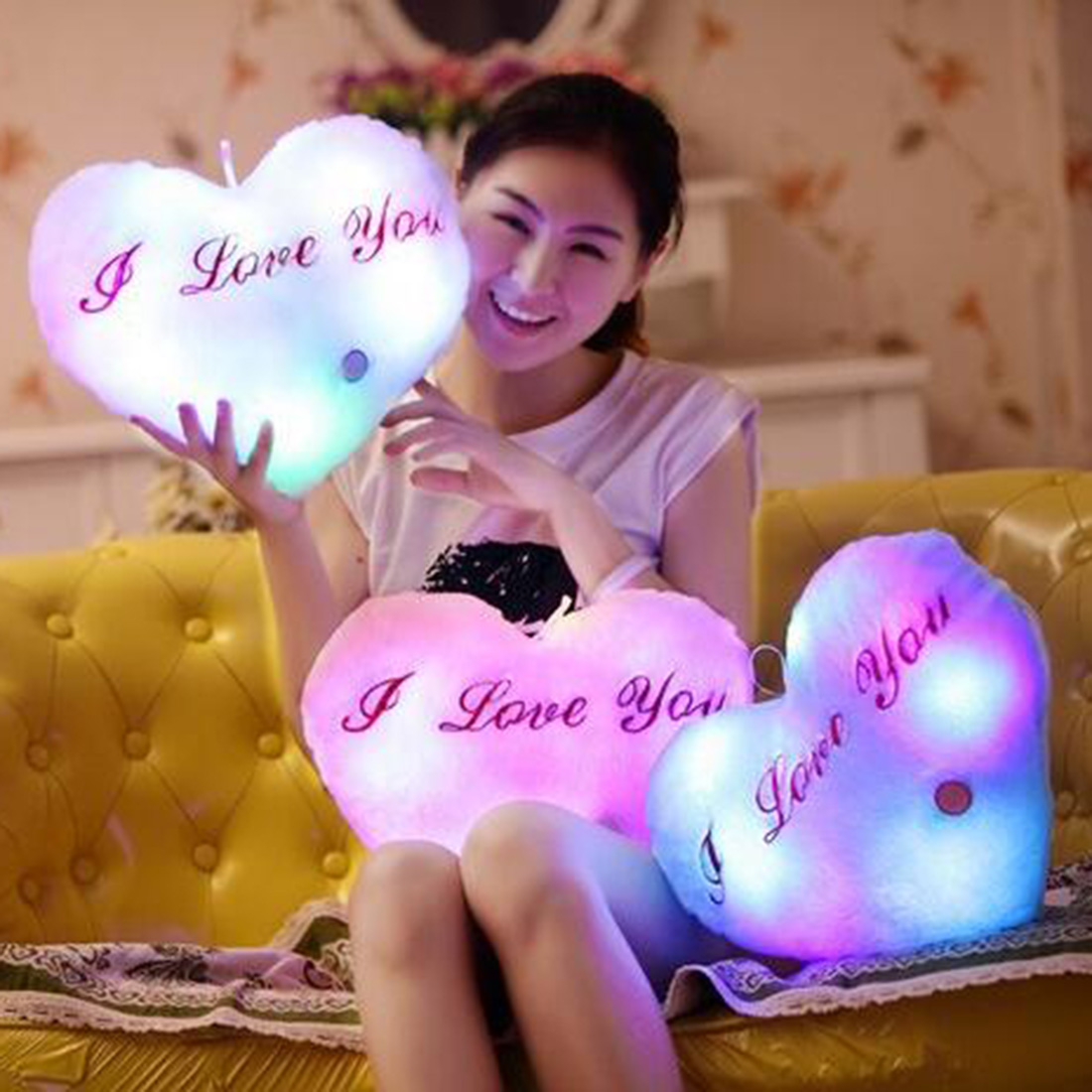Punctual Led Luminous Heart Shape Pillow Cushion For Christmas Party Decor Heart Glow Led Pillow Light Soft Cushion Gift Home Plush Child Cushion
