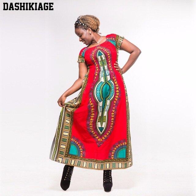cheaper fa0af ae3d8 Dashikiage Autunno Cotone Rosso Dashiki Stunning Elegante Africano Signore  Vestito Lungo