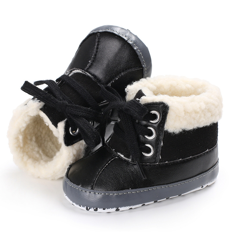 Raise Young PU Leather Winter Plus Velvet Warm Baby Snow Boots Soft Soles Toddler Girl B ...