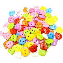 HANLV 50pcs 11mm Mixed Color 2 Holes Flatback Apple Plastic Buttons DIY Scrapbooking Kids Apparel Sewing Notions